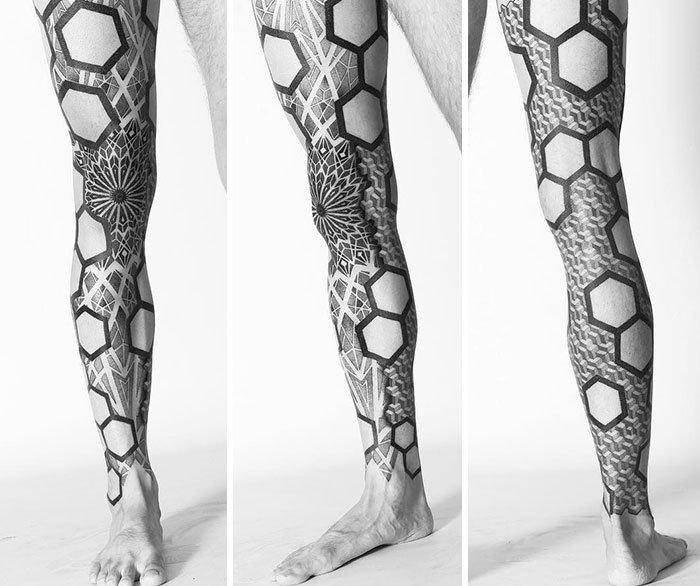 Amazing Geometrical Pattern Of This Leg Tattoo