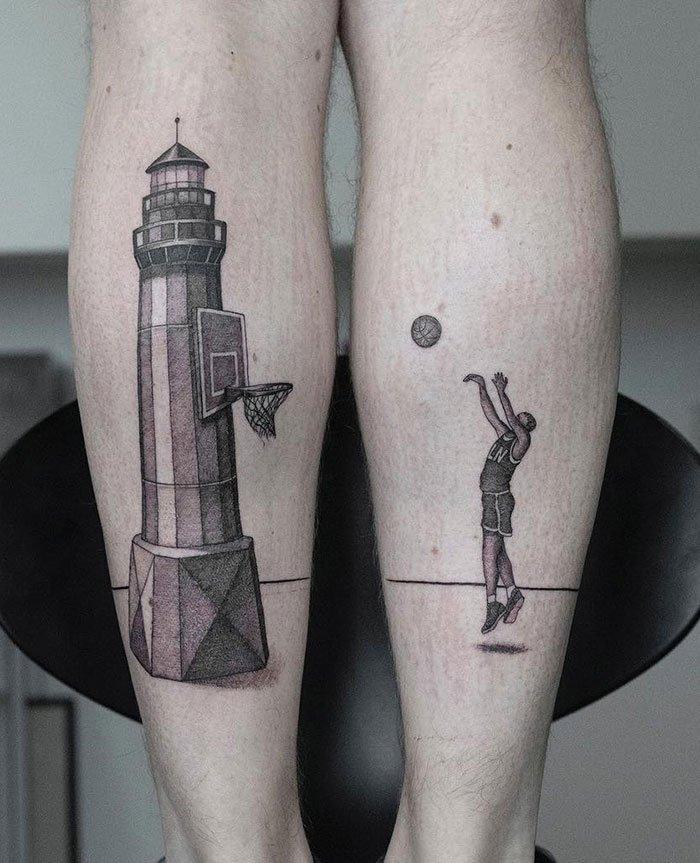 Creative Leg Tattoo Idea