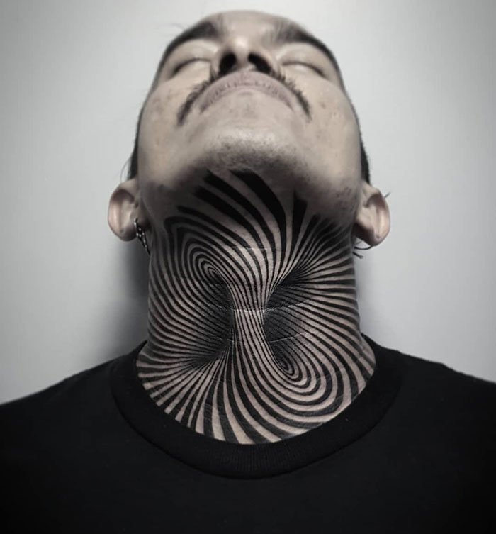 Optical Illusion Neck Tattoo