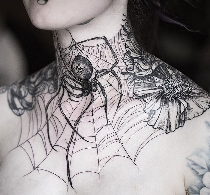 Large Spider Web Tattoo