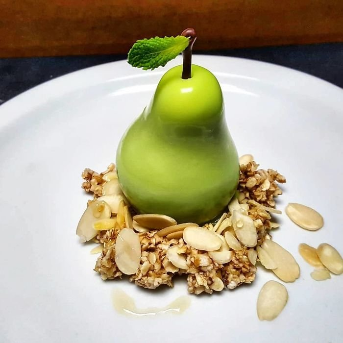 Pear Parfait, Charred Overnight Oats, Almonds, Honey