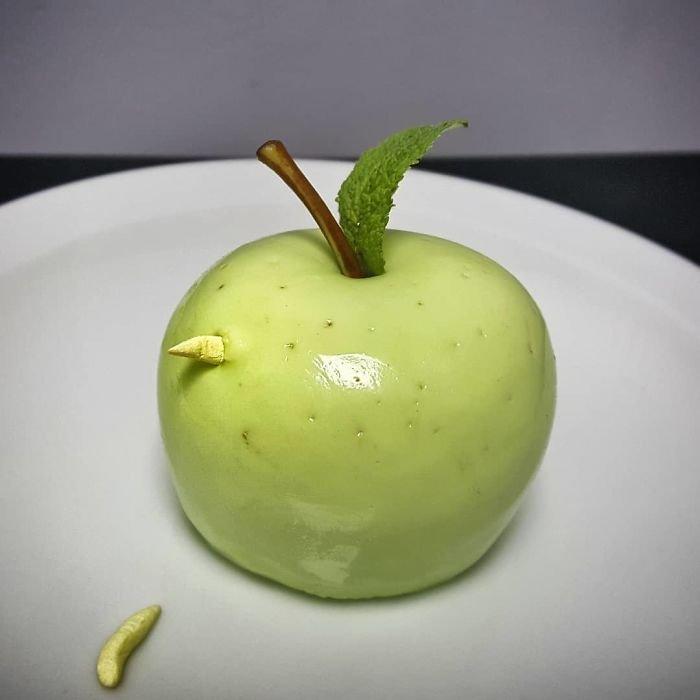Apple Bavarois, Stewed Apple Filling, Chocolate Maggots