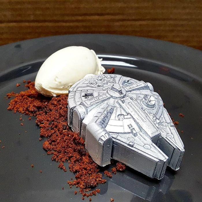 Caramel Filled Millennium Falcon, Chocolate Crumb, Cream