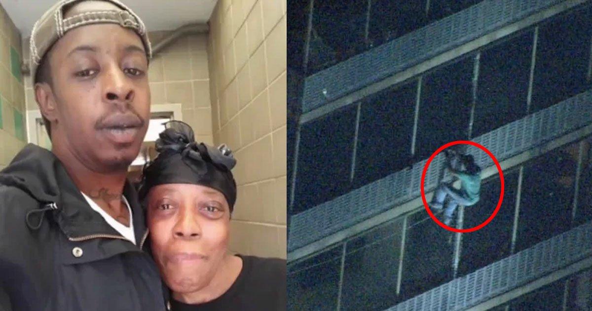 a man climbed 19 story building during fire to save his mother who was trapped on 15th floor.jpg?resize=300,169 - Un homme a escaladé un immeuble pendant un incendie pour aller sauver sa mère qui piégée au 15ème étage