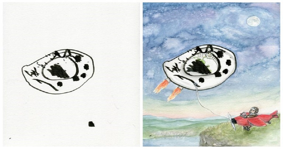 a3 4.jpg?resize=1200,630 - Brilliant Mom Builds Upon Her Children's Drawings To Turn Them Into Artistic Masterpieces