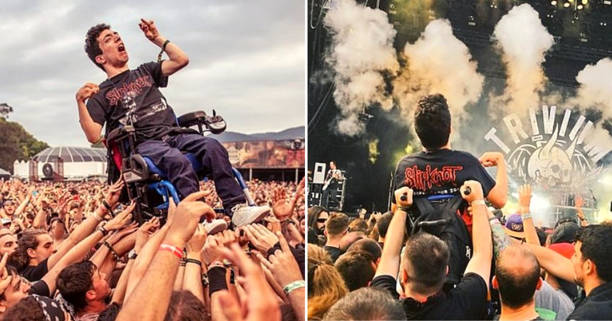alex4.png?resize=412,232 - Young Man With Cerebral Palsy Crowd Surfs In His Wheelchair At Music Festival