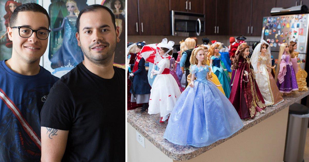 couple disney dolls.jpg?resize=412,232 - Couple Spent $60,000 To Buy Hundreds Of Disney Dolls