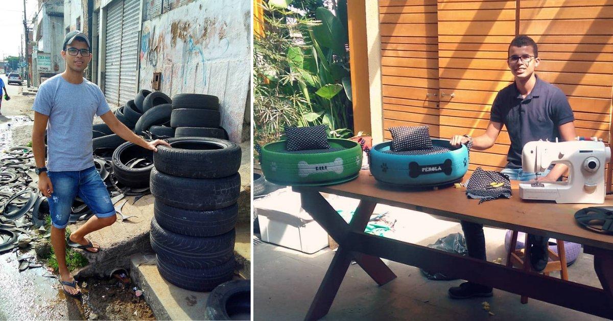 d1 21.png?resize=412,232 - De vieux pneus ont été transformés en lits pour les animaux de la rue