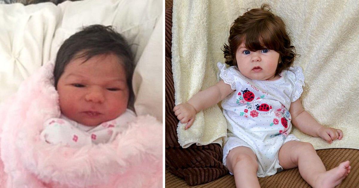featured image 2.png?resize=1200,630 - Un bébé nait avec tellement de cheveux qu'on la confond avec une poupée en porcelaine