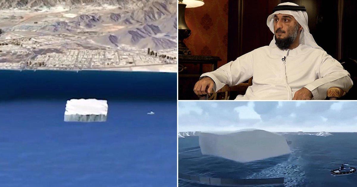 featured image 28.png?resize=300,169 - Aux Émirats, un homme veut rapporter un iceberg pour palier au manque d'eau potable