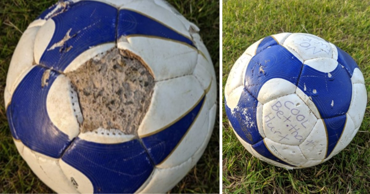 featured image 36.png?resize=412,232 - A Man Came Across A Concrete-Filled Soccer Ball In The Middle Of A Playing Field In A Cruel Prank