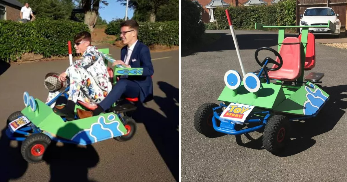 featured image 79.png?resize=412,232 - Boys Who Couldn't Arrange A Proper Transportation To Prom Surprised Everyone By Showing Up In A Homemade Toy Story RC Kart