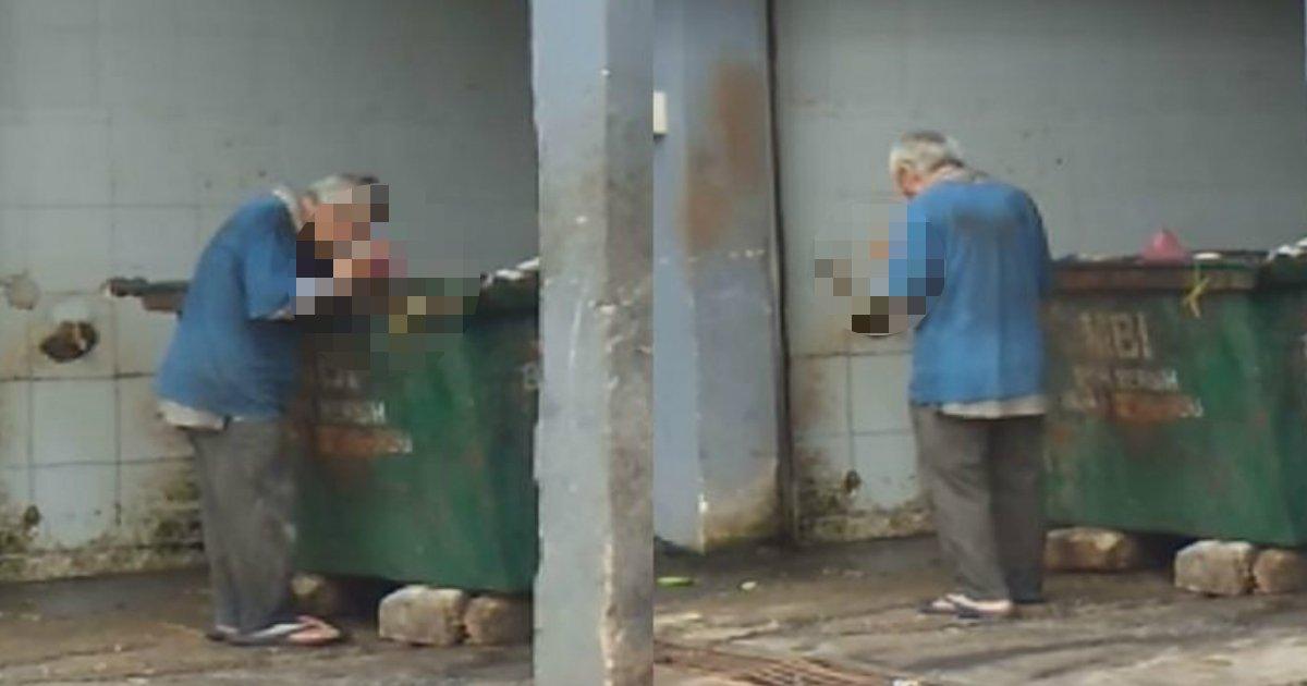 gomi.jpg?resize=1200,630 - ゴミ捨て場から生ごみを漁って食べていた「青い服を着た老人の男性」を探しています…
