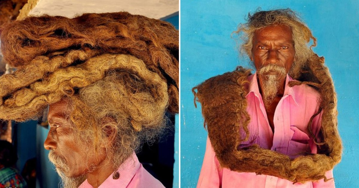 hair5.png?resize=1200,630 - Man Hasn't Washed Or Cut His 6-Foot Dreadlocks In 40 YEARS, Calling His Hair A Real 'Blessing'