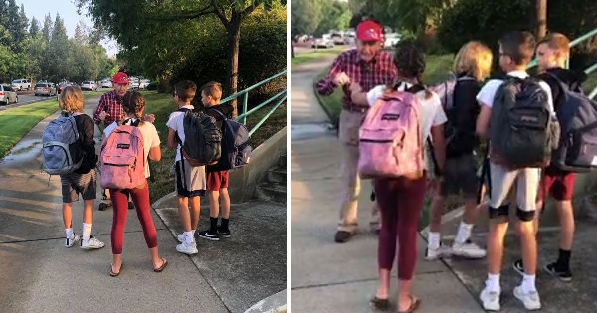 man gives fist bumps.jpg?resize=1200,630 - 94-Year-Old Veteran Stands Outside A School And Motivates Students For Last 10 Years