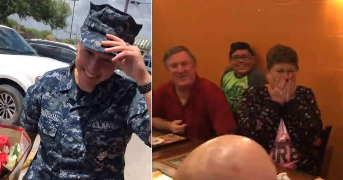mother daughter reunion.jpg?resize=412,232 - Heart-Melting Moment A Navy Veteran Surprised Her Mother Who Was Fighting Breast Cancer When Her Daughter Was Away From Home