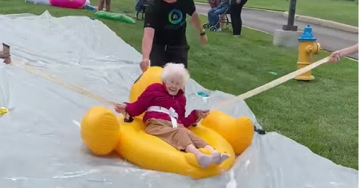 s3.jpg?resize=412,232 - Residents Of An Ohio Nursing Home Revisited Their Youth By Enjoying Themselves On A Water Slide