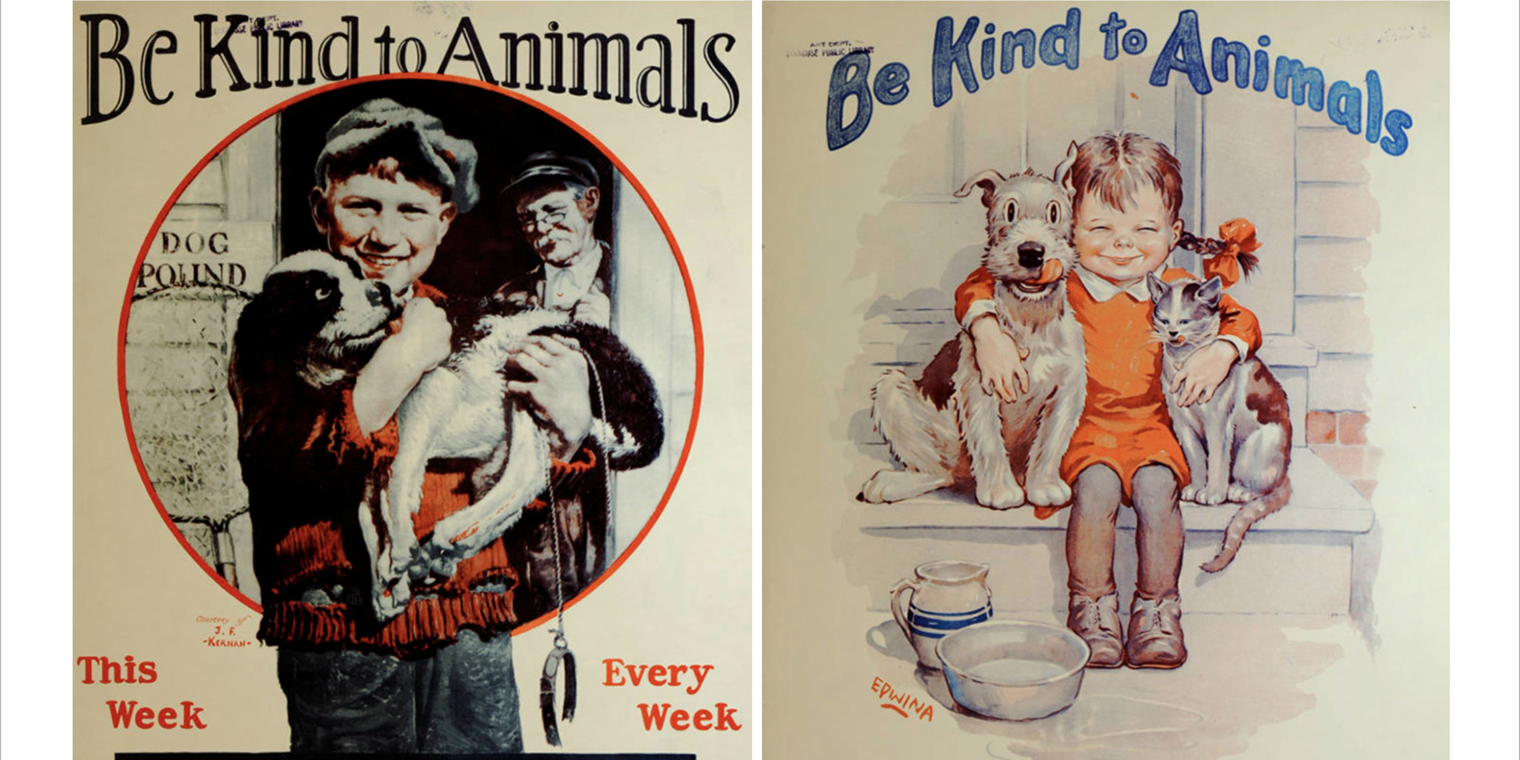 "screen shot 2019 07 15 at 11 24 03 pm e1563200721276.png?resize=412,232 - 17 Adorable ""Be Kind To Animals"" Posters From The 1930s"