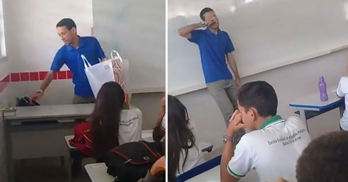 students surprise teacher.jpg?resize=1200,630 - Students Surprised Their Teacher After Finding Out He Hadn't Received His Salary For Two Months