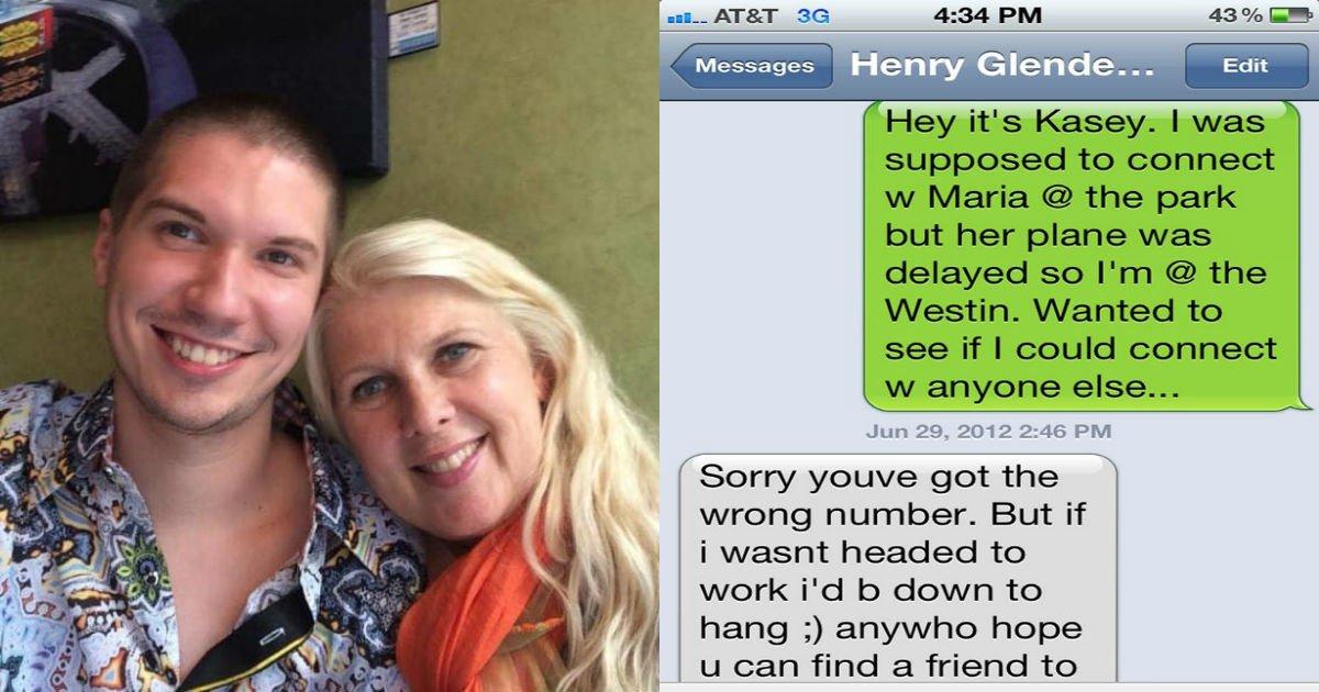 the text messages between kasey bergh and henry glendening.jpg?resize=412,232 - 잘못 보낸 '문자' 한 통 인연으로 '22세' 남성과 결혼한 '52세' 여성