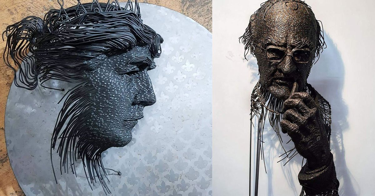 A Sculptor Uses Metal Wires To Draw Portraits Of Historical ... on wire rope, barbed wire, draw bench, blanking and piercing, hemming and seaming, superplastic forming, die cutting, tube drawing, draw plate, sheet metal,
