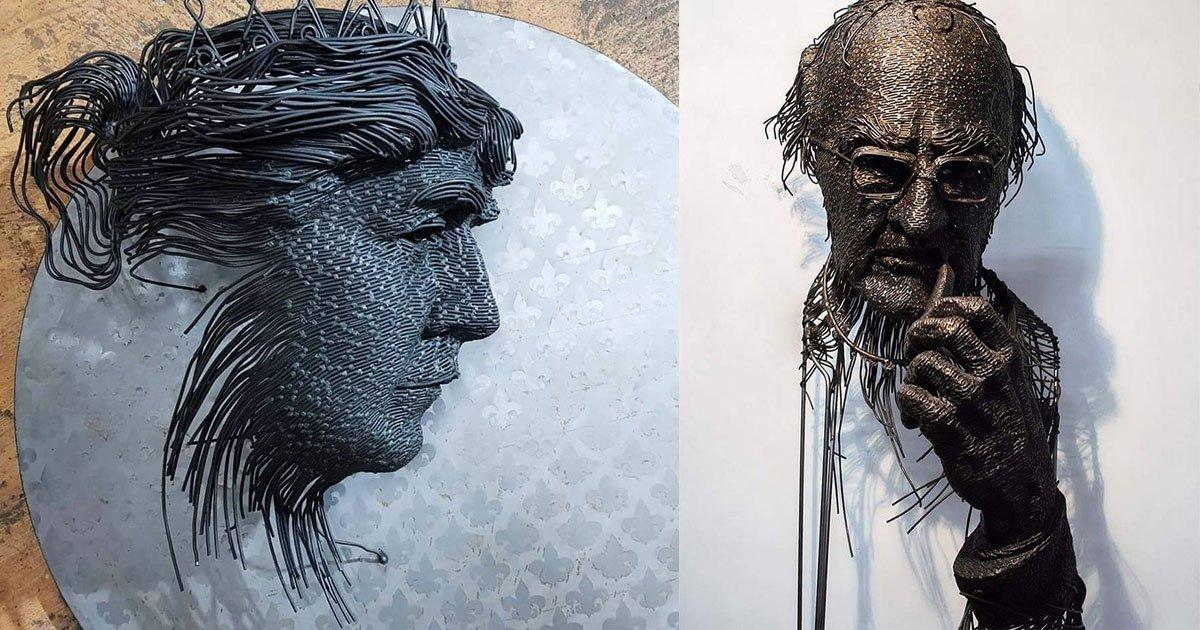 this sculptor uses metal wires to draw portraits of historical figures.jpg?resize=1200,630 - Un sculpteur utilise des fils métalliques pour dessiner des portraits de personnages historiques