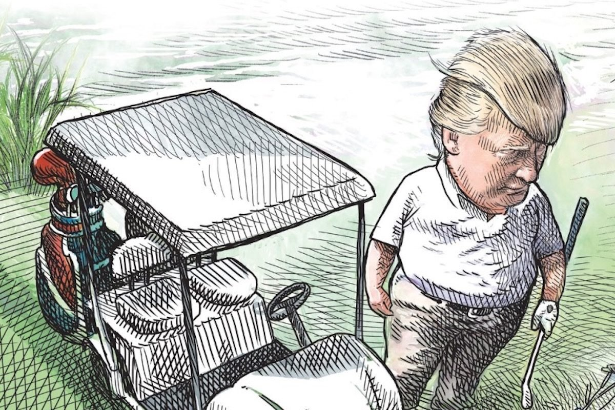 trump.jpg?resize=300,169 - Canadian Artist Fired After Drawing A Cartoon Showing Trump Playing Golf While Migrants Failed To Cross Rio Grande
