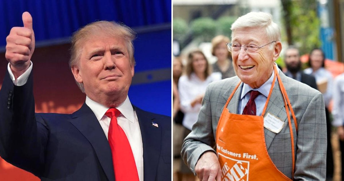 trumpmarcus.png?resize=412,232 - Donald Trump Praises Home Depot Co-Founder Bernie Marcus In Response To Boycotts