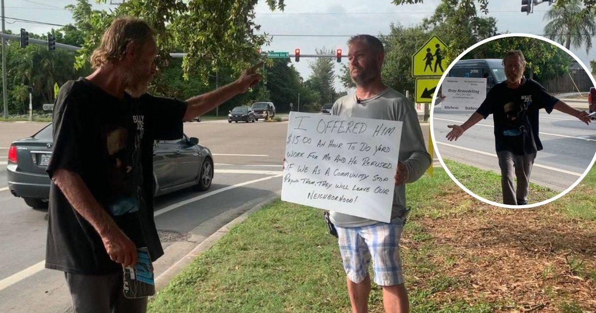 untitled design 60 1.png?resize=300,169 - Un homme a créé sa propre pancarte et s'est mis à côté du mendiant paresseux qui a refusé son offre d'emploi