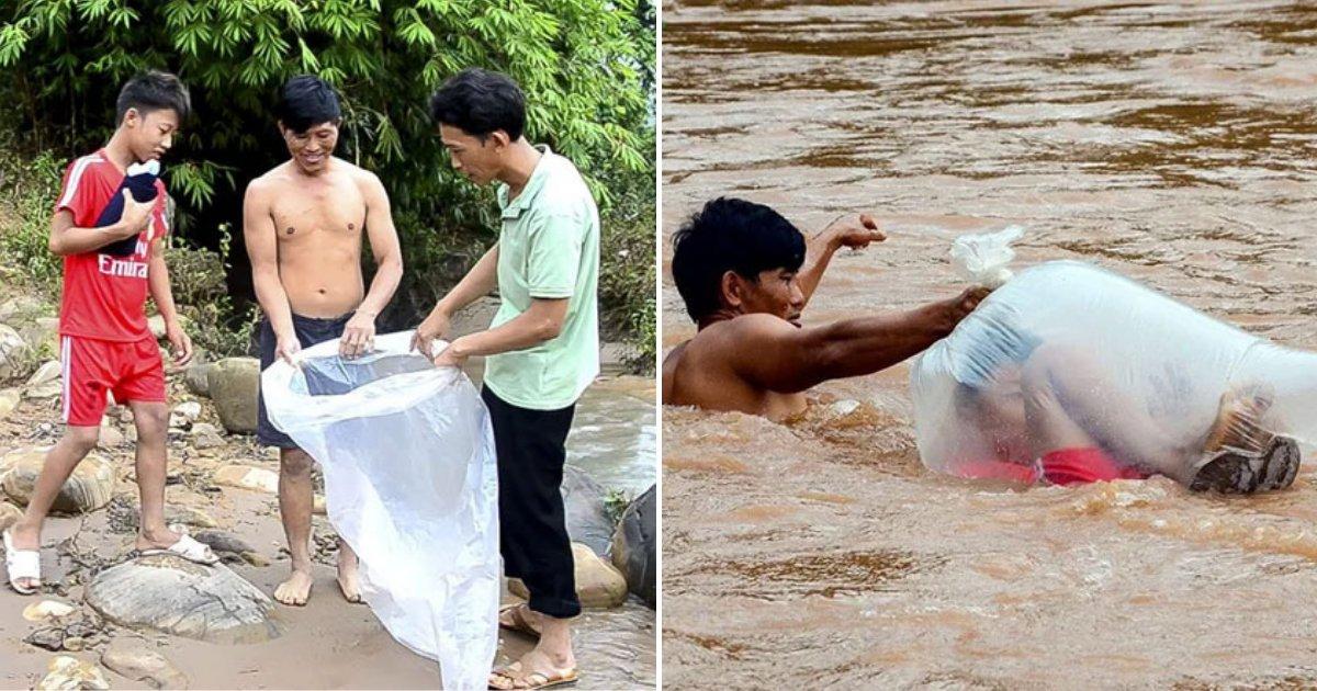untitled design 62 1.png?resize=300,169 - Les enfants d'un village éloigné sont forcés de traverser la rivière dans des sacs en plastique pour se rendre à l'école