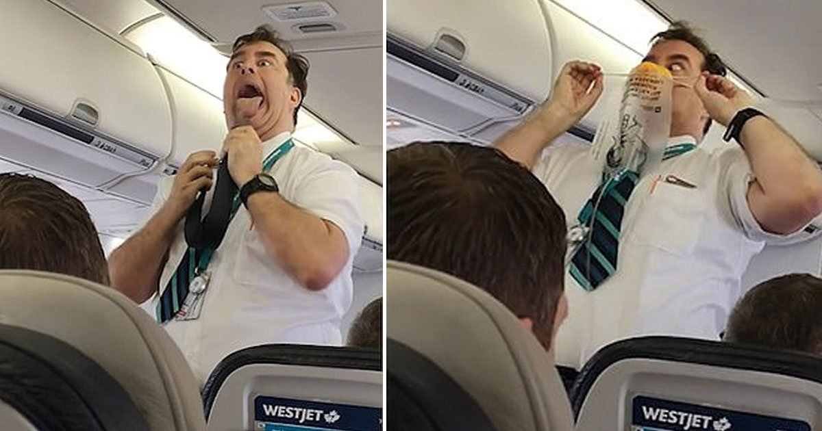 westjet flight attendant.jpg?resize=412,232 - WestJet Flight Attendant's Hilarious Safety Demonstration