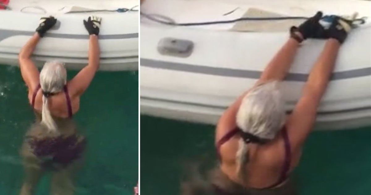woman get back boat.jpg?resize=1200,630 - Elderly Woman Showed How To Get Back Into A Boat If You Fall Out Of It
