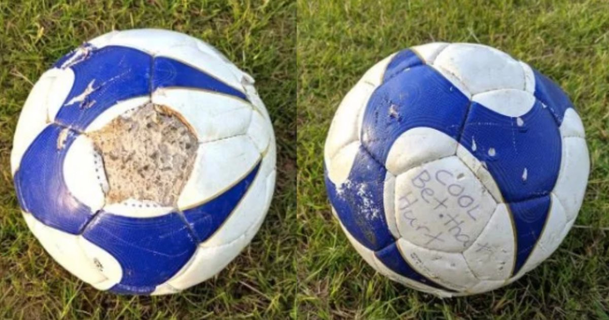y2 7.png?resize=1200,630 - Horrible Prankster Left Soccer Ball Filled with Concrete In the Middle of the Field with A Note