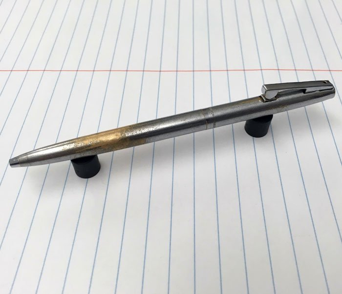 My Sheaffer Reminder Ballpoint Pen. This Has Been In My Pocket Every Weekday For The Last 15 Years. It Used To Belong To My Grand-Father. I Know He Used It Because The Brass Was Already Starting To Wear Through When I Got It. They Still Make The Refills For It
