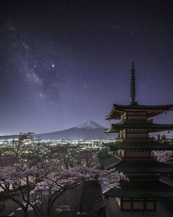 Milky Way From Chureito Pagoda, Yukihito Ono, Cities