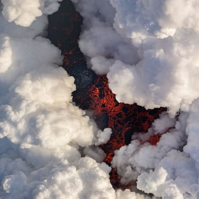 Lava Under Plumes Of Smoke, Michael Perea, Nature