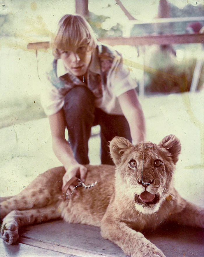 My Father And His Pet Lion Priscilla, California 1970