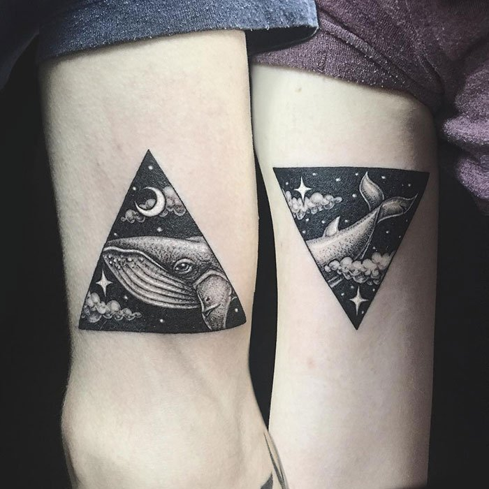 Couple Tattoo Of A Whale