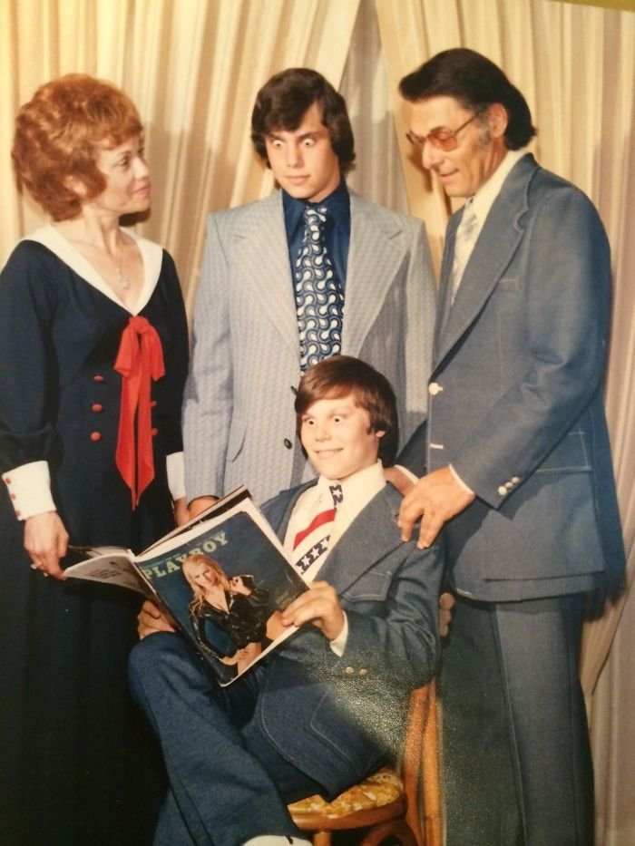 My Hilarious Father (With The Magazine) And My Grandfather, Grandmother, And Uncle At His Bar Mitzvah In 1972