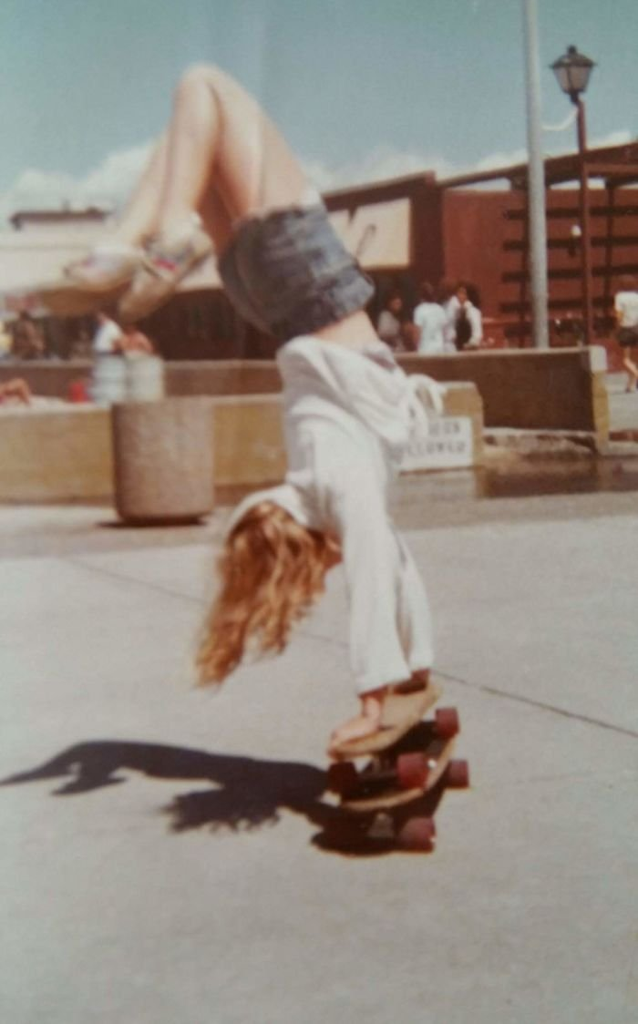 My Mother Doing A Handstand On Two Skateboards (Circa 1980