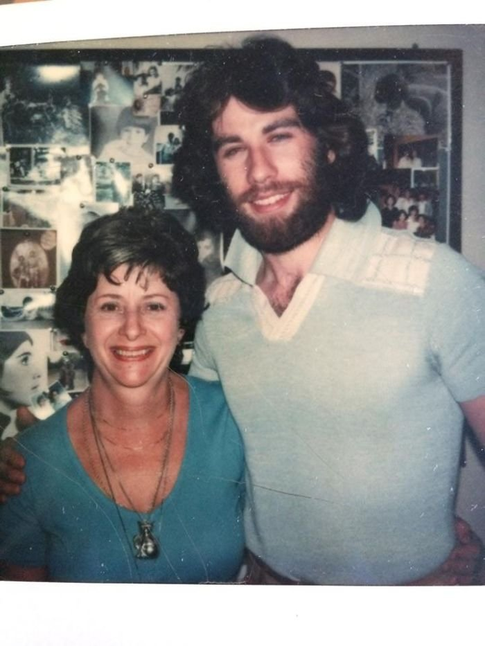 My Mom Was Childhood Friends With John Travolta And We Found A Photo Of My Nana And Him After One Of His Shows When He Did Theatre! Look At The 70s Hair...