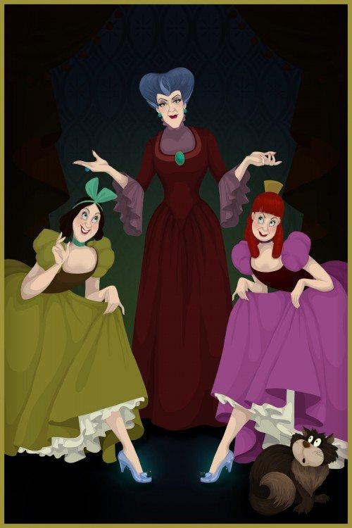 Ilustración del final feliz de las hermanastras y la madrastra de la película de la Cenicienta