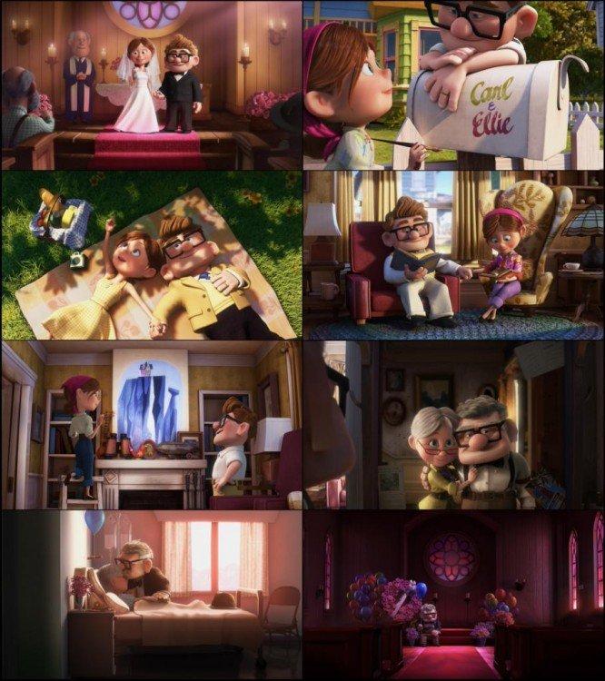 Imágenes de la historia de Carl & Ellie en la película Up