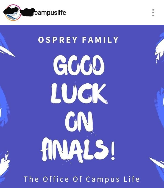 My University Wishing Me Good Luck