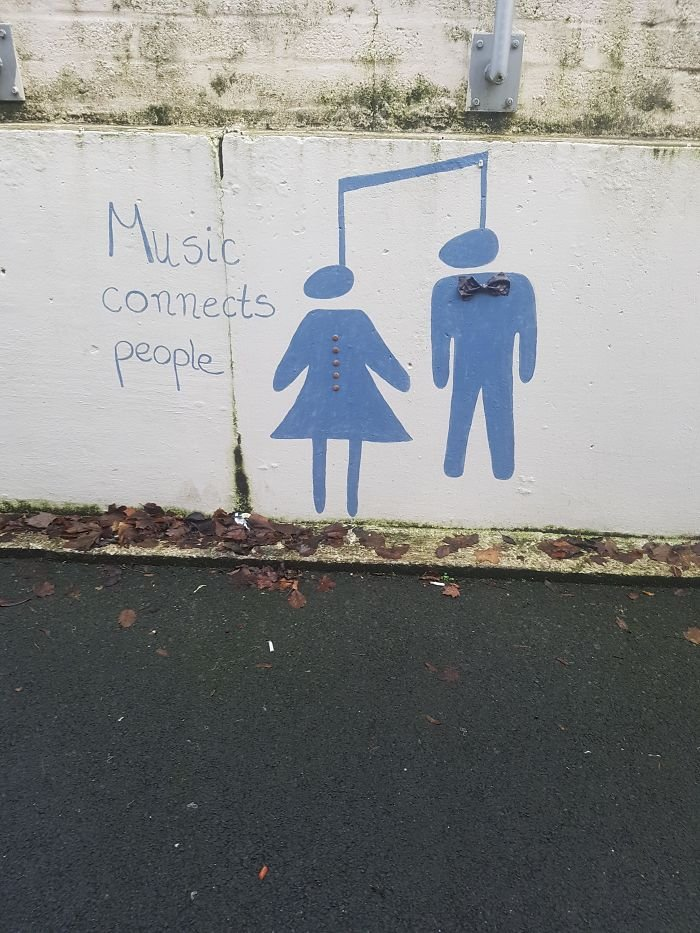 The Music Mural At The Daycare I Work At Looks Like Two People Being Hung
