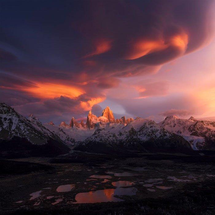 2018 The Sunrise / Sunset Award, Monte Fitz Roy, Patagonia, Argentina, Xiao Zhu