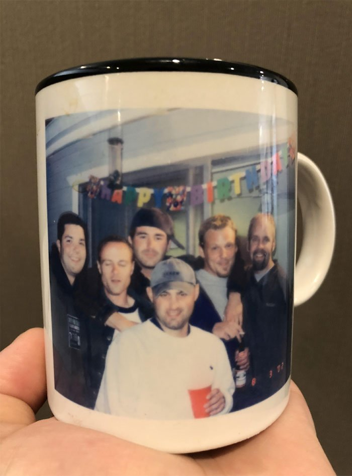 This Is My Favorite Mug. I Got It At A Thrift Store And Have No Idea Who These People Are