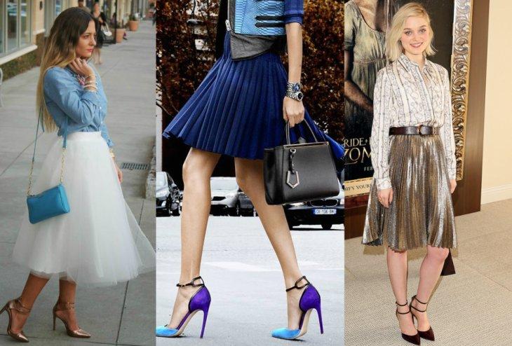mujeres falda grande blanca zapatos azules chica rubia falda en A