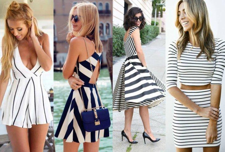 mujeres con vestidos de rayas crop top tacones bolso negro