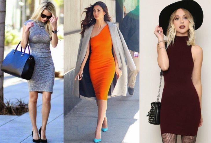 mujer rubia vestido gris mujer morena vestido naranja mujer rubia vestido ceñido vino